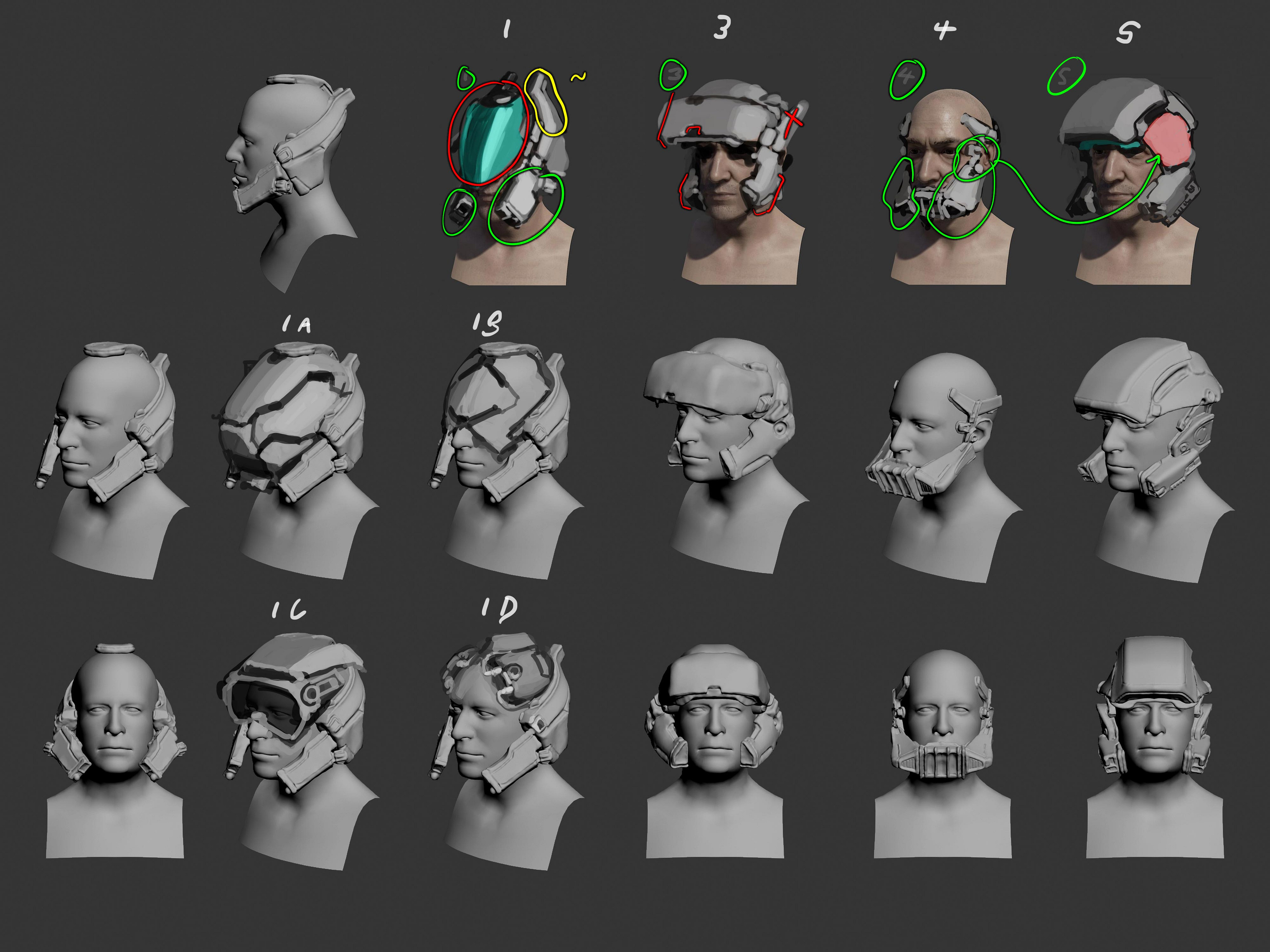 This is the second pass on the thumbnails, with feedback from the Art Director implemented. Due to a combination of rigid binding and the need to disguise clipping on the morphing heads, simple sculpts were used to help iterate.