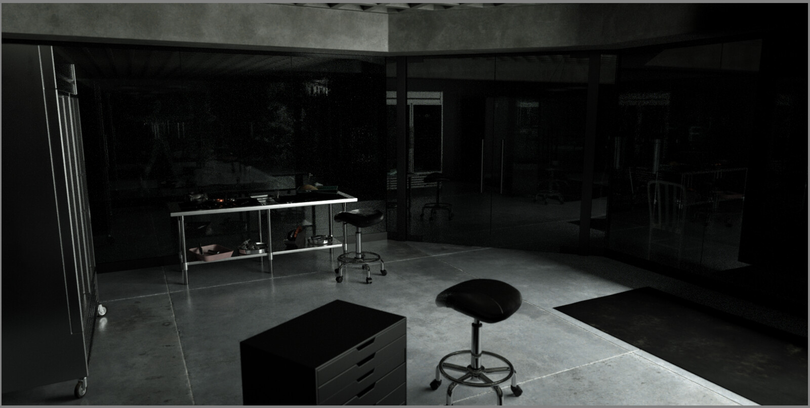 This is scene I modeled and textured the distant stainless steel work table with all the props on it. Also, I modeled and textured the fridge on the right.