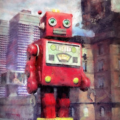 Luca oleastri giant tin toy robot and city low