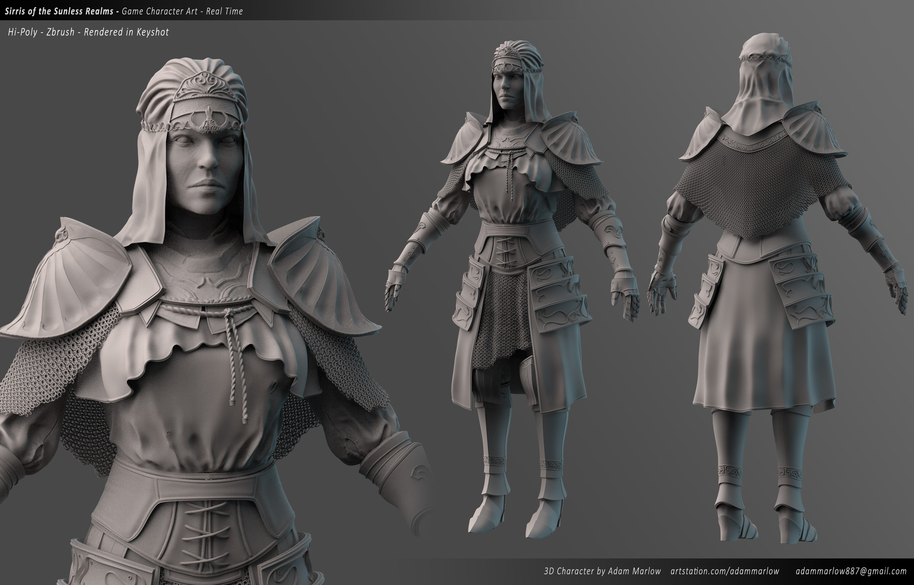 Character Clay render from Keyshot - Made in Zbrush