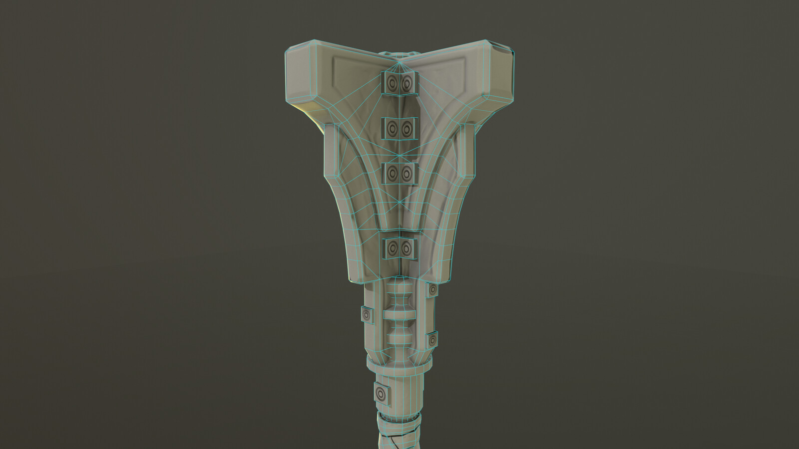 Mace Render in Marmoset Focused on the Mace Head Topology