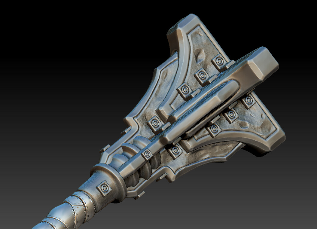 Zbrush Render of the High Poly Mace Head