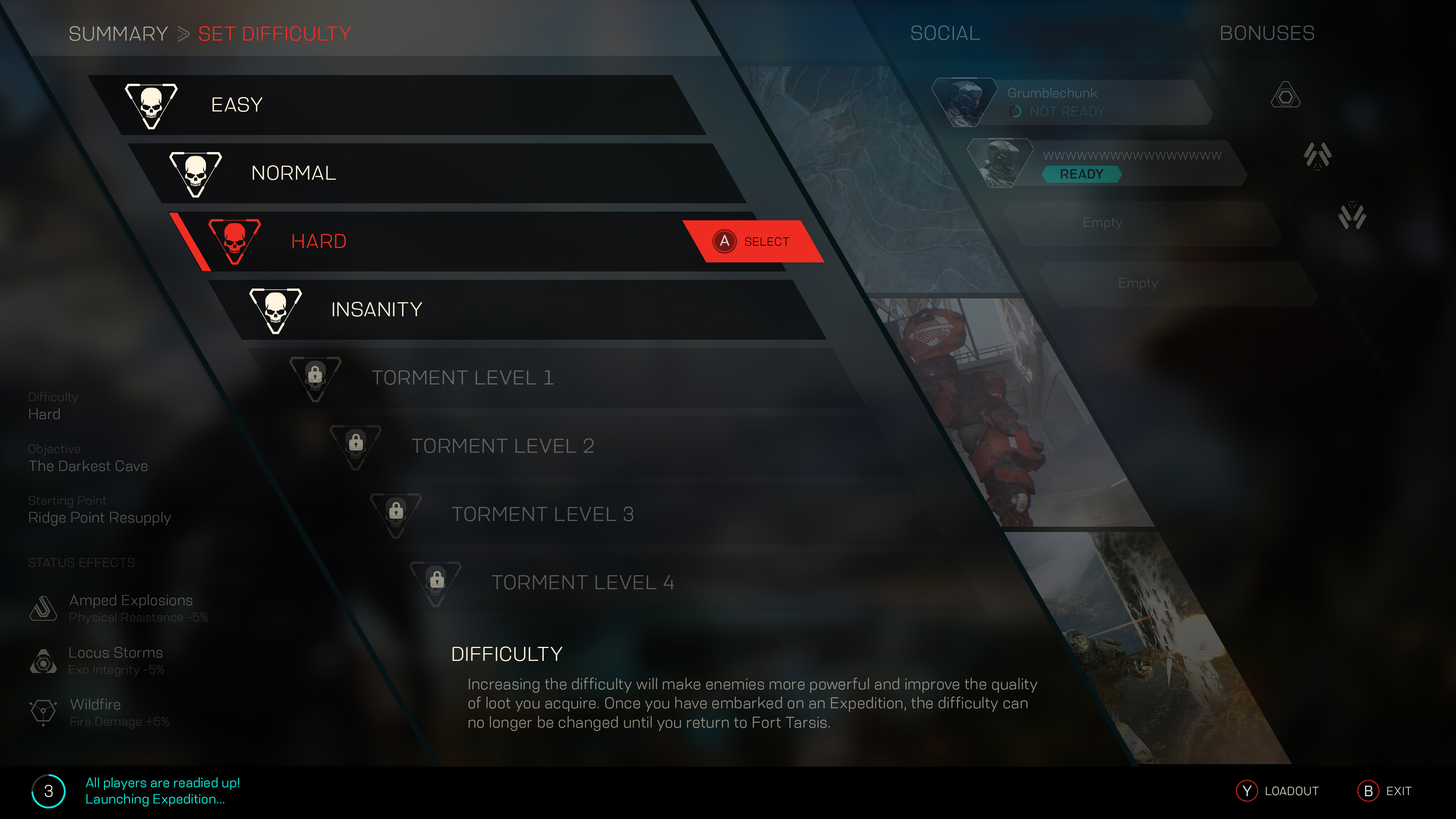 Difficulty submenu in Expedition Start.