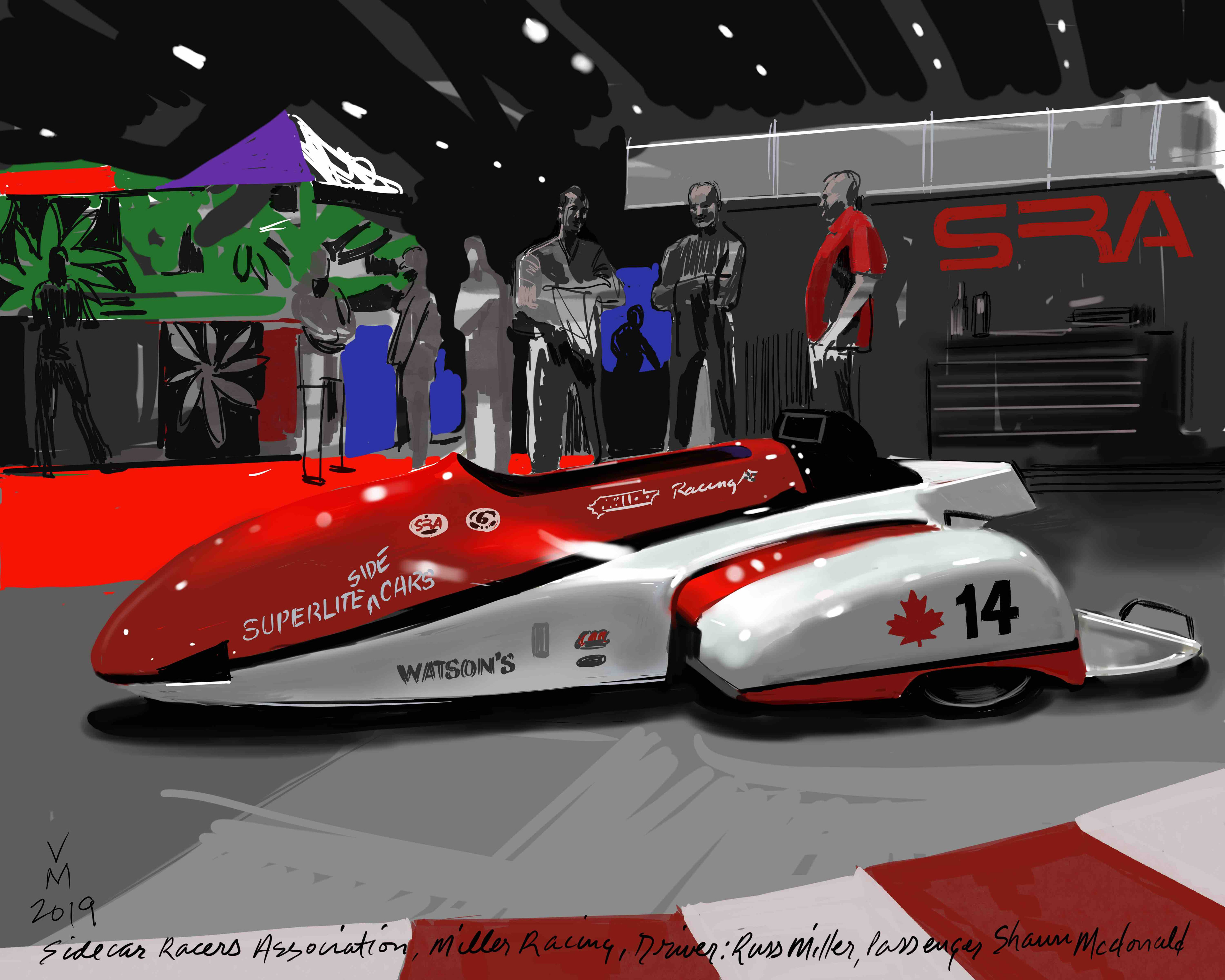 Sidecar Racers Association. This digital painting was created on a i-pad on location.