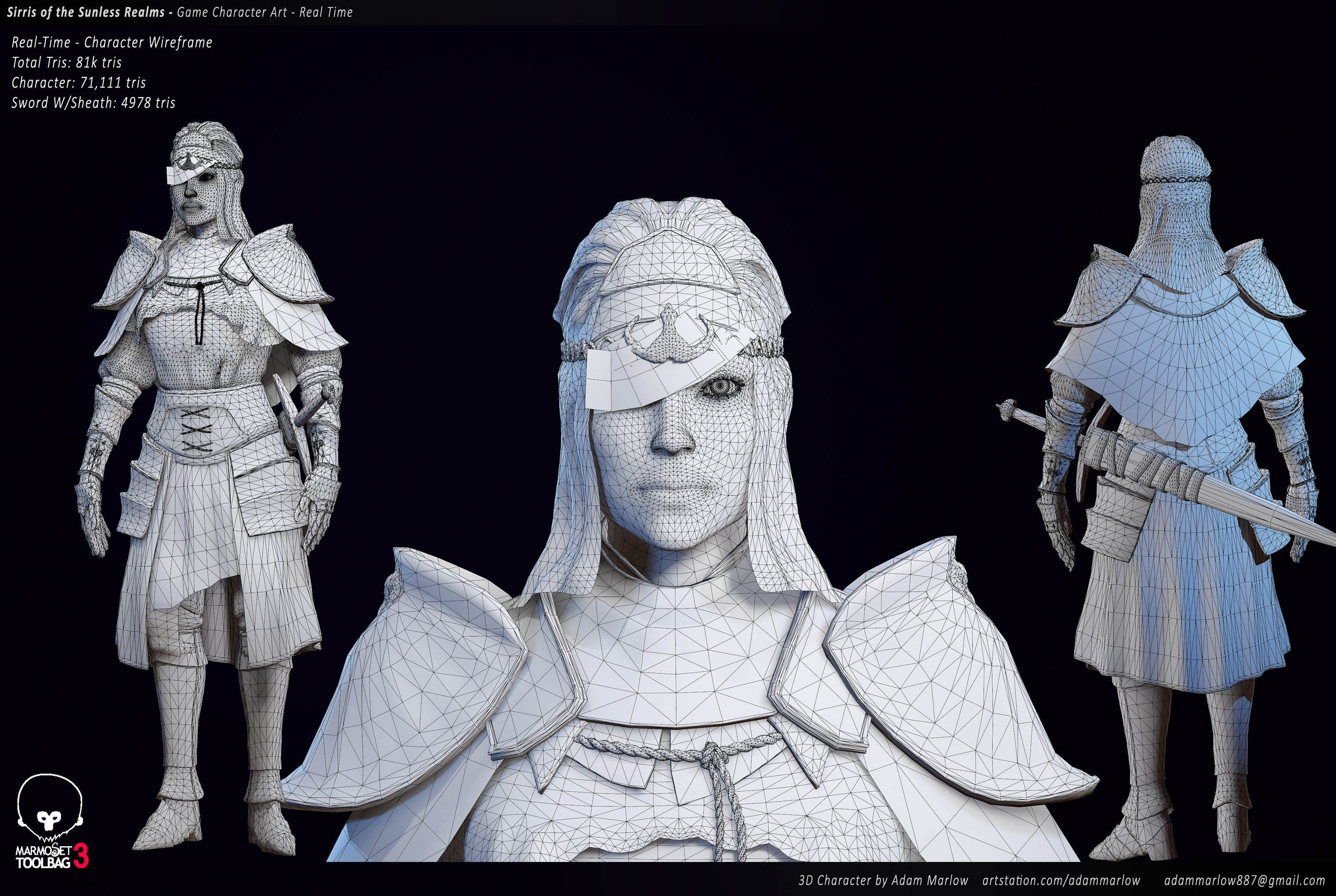 Wireframe Low Poly, Rendered in Marmoset