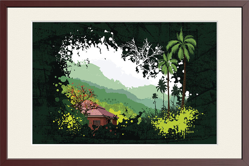 Rajesh r sawant konkan 26 house and trees framed 01