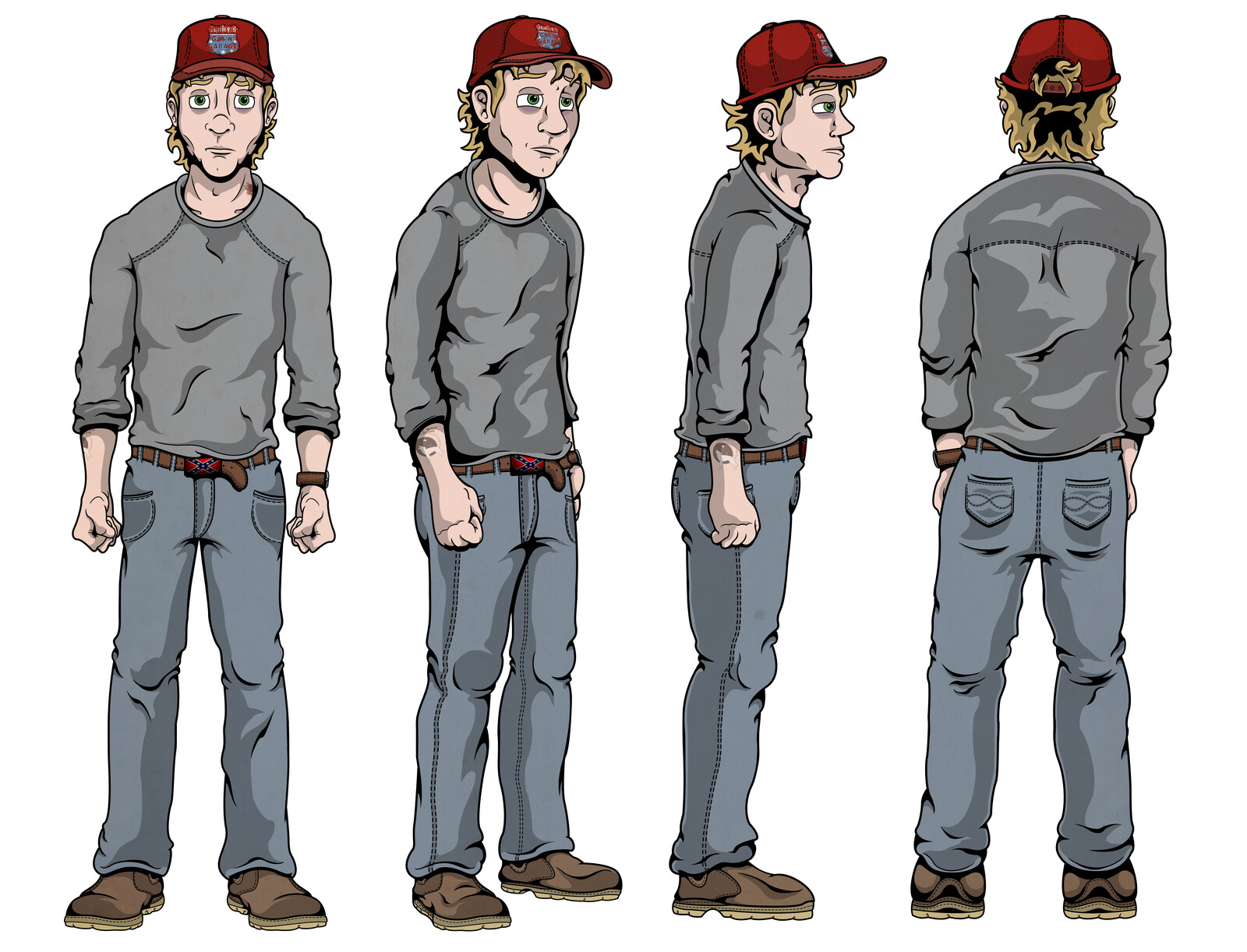 Turntable of Tracey Hudson, to get the feel of how he looks from different angles, his posture, clothing etc. Simple shadows and low detail to keep the turntable  clean.