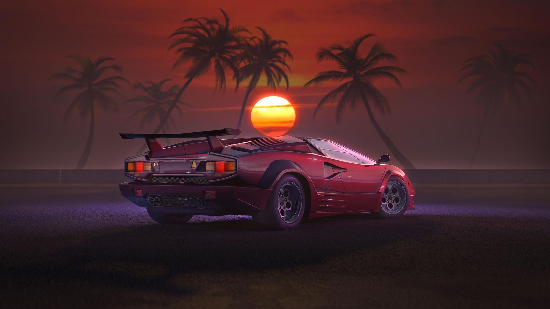 ArtStation , Lamborghini Countach Retro, Damian Bilinski