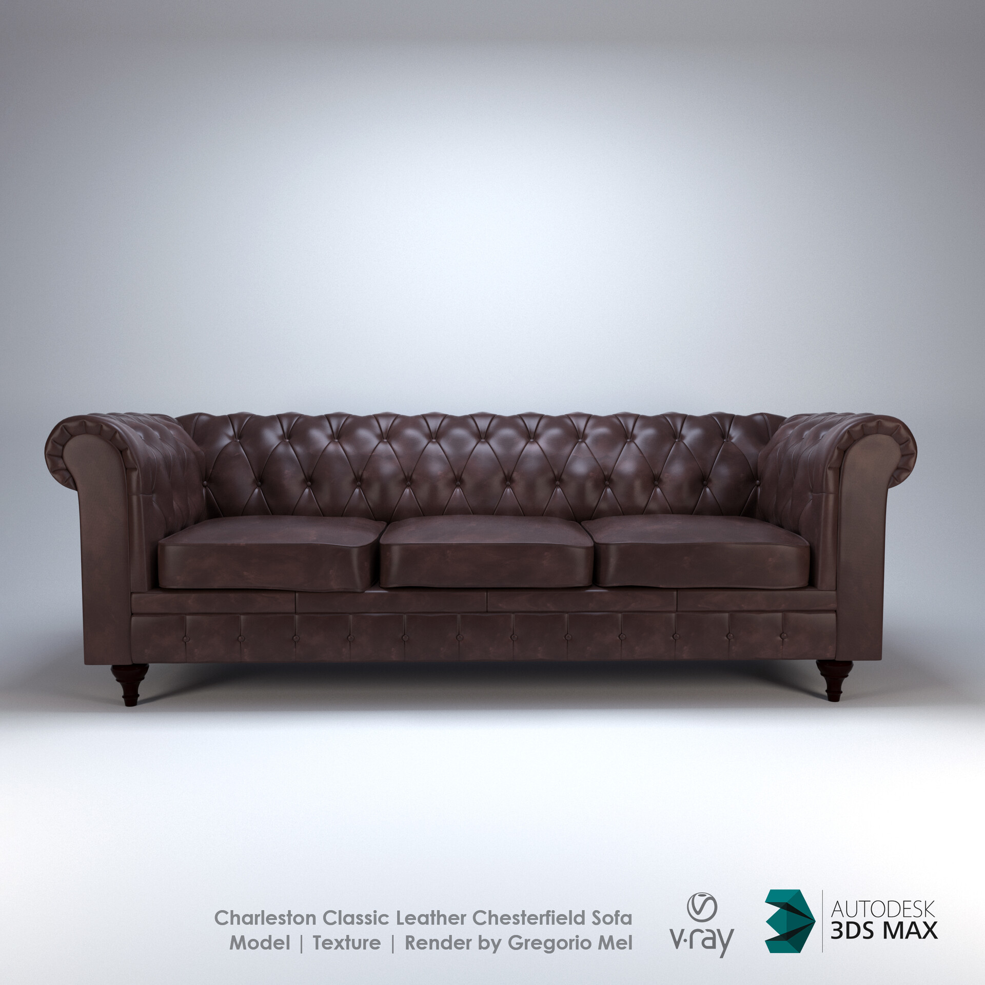 Artstation Charleston Classic Chesterfield Leather Sofa Model