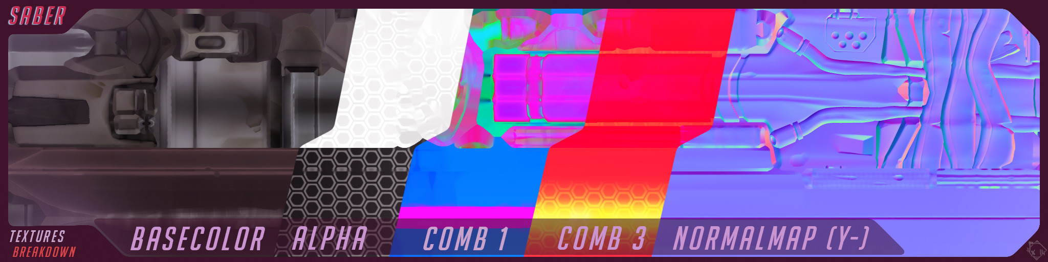 Comb 1 (R=Metal/G=Rough/B=AO) Comb 3 (R=Cavity/G=Emissive/B=SpecularIntensity), Alpha is stored in the BaseColor Map, 2048x512  textures set