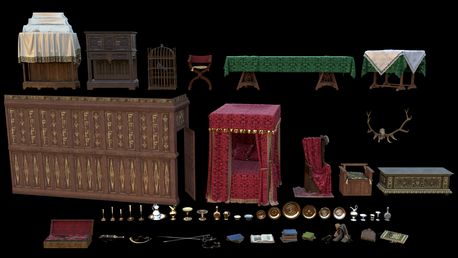 An overview of (one of) each object created for the room!