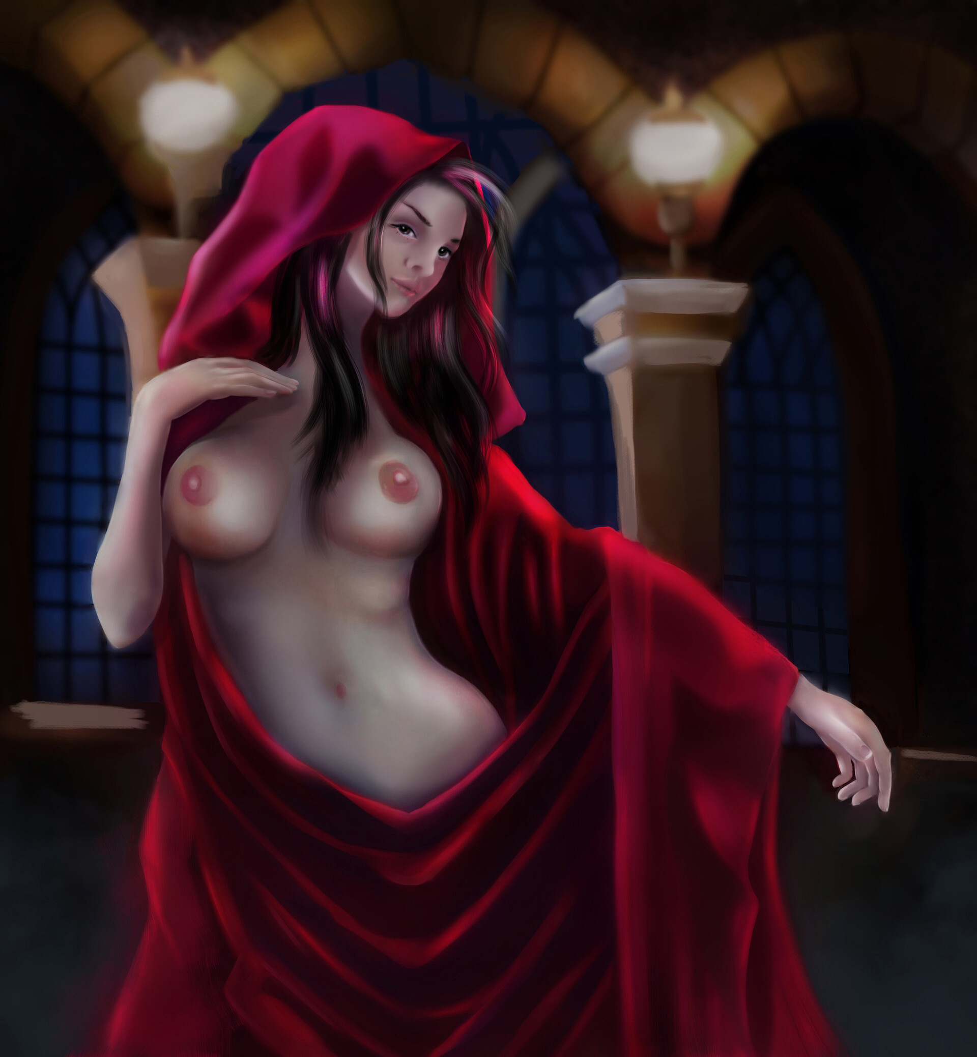 Scribbles art girl in the red robe