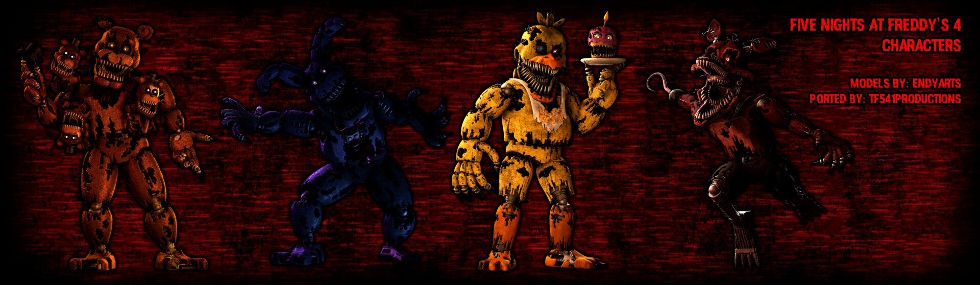 Artstation Five Nights At Freddy S 4 Character Model Pack