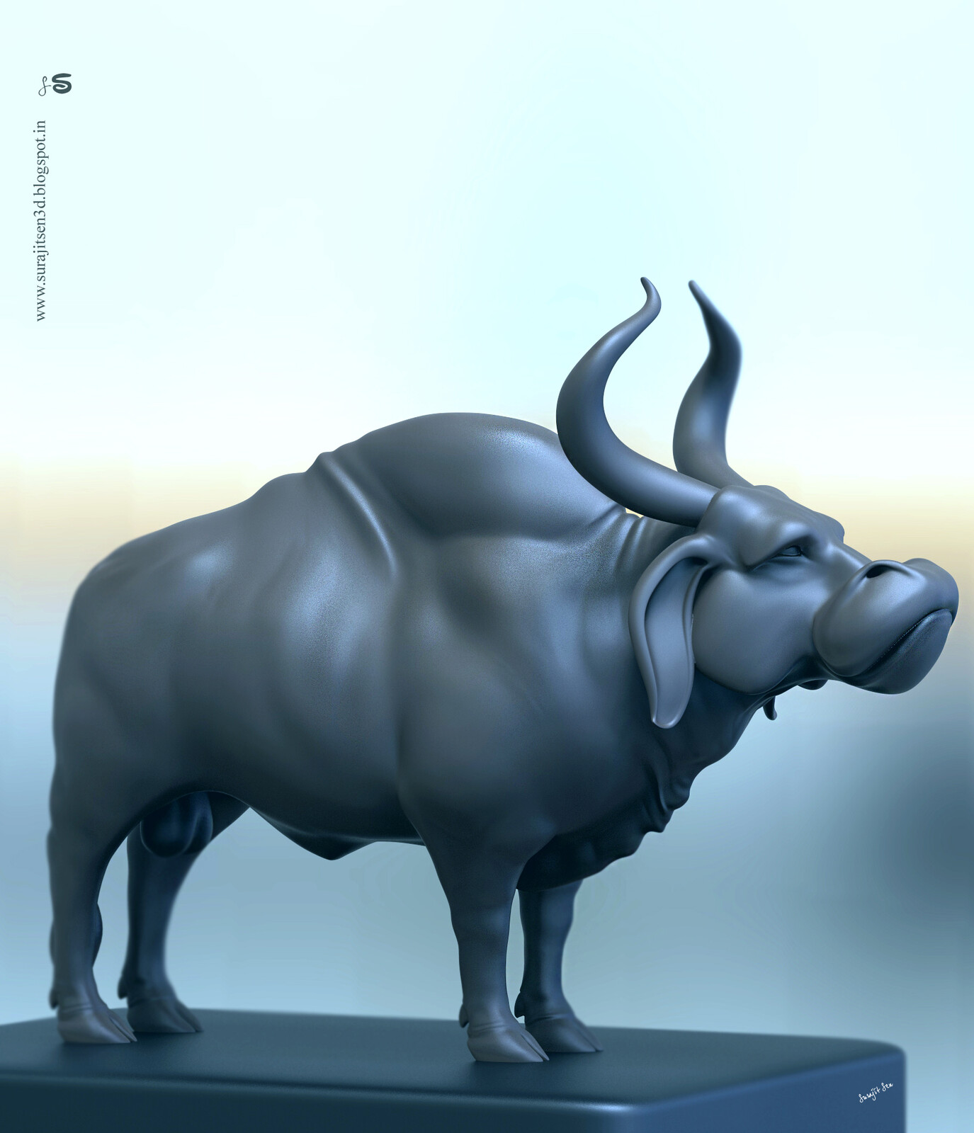 """#digitalsculpting #doodle #quicksculpt #study  Wish to share a snap of my recent Digital Sculpt study. ....""""Ancient Bull"""". Tried to make a form of my thoughts :)"""