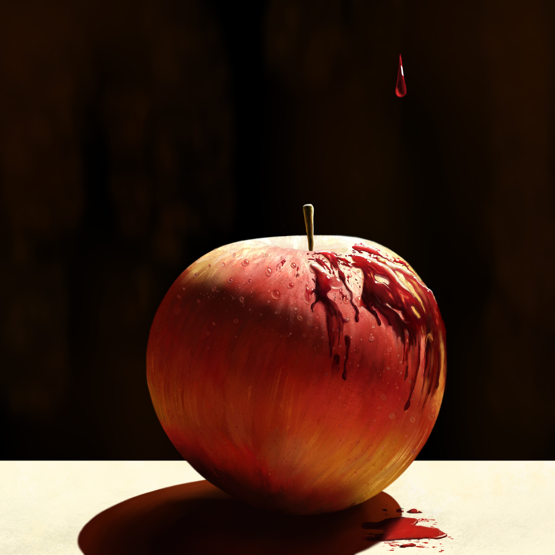 focusing on the interaction between the skin of an apple, dew drops, and dripping blood