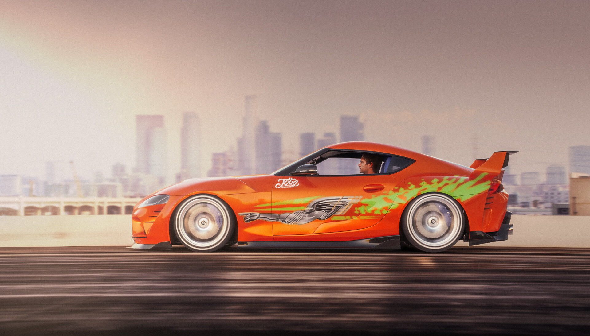 Paul Walker driving a homage to the classic Toyota Supra from the Fast and Furious movies.