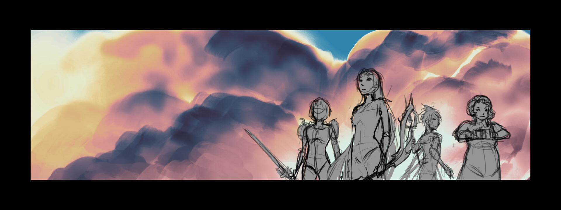 The early sketch for the banner art.