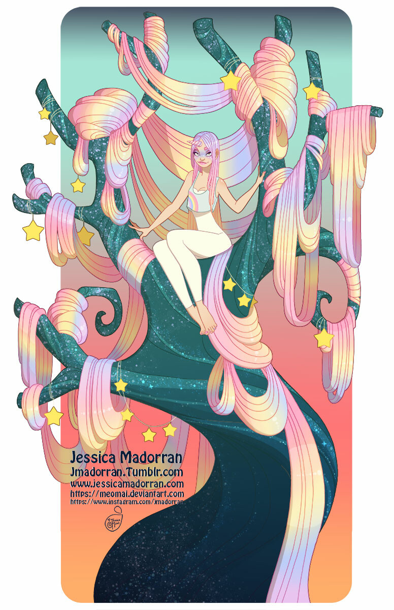 Jessica madorran character design rainbow tree lady 2019 artstation01