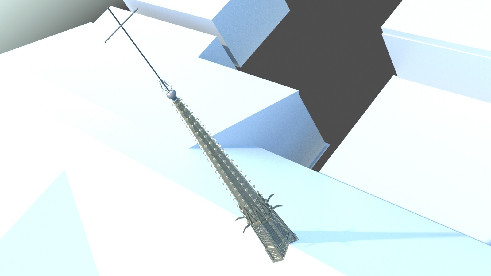 Old work - steeple emplaced in massing model