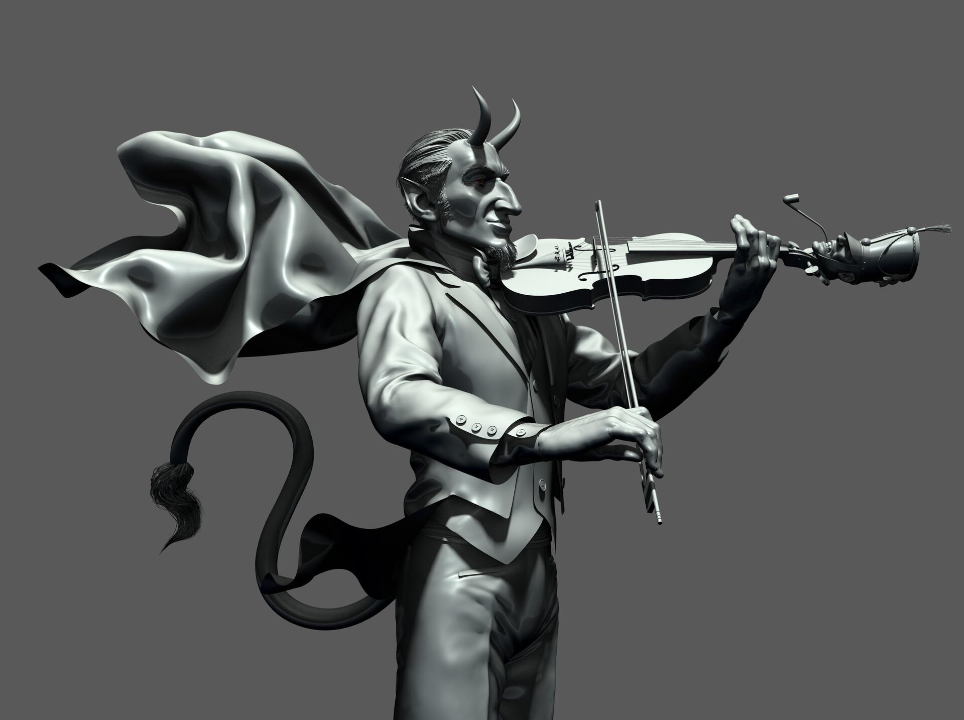 ArtStation - Devil plays on a Soldier-headed violin, István Ábrahám