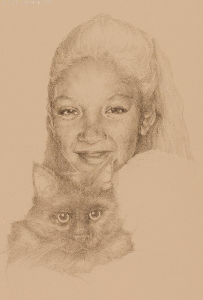 Pencil sketch memory of a daughter of a friend and their cat.
