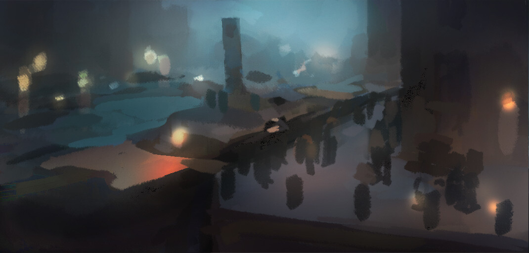 One of my early thumbnails for the docks. At the start, I began designing a full 'colour key' so that we could treat each scene in a connected cinematic way, and make sure the colours flowed between them.