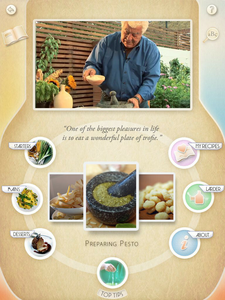 UI/UX for Carcluccio's  cooking app for iPAd.