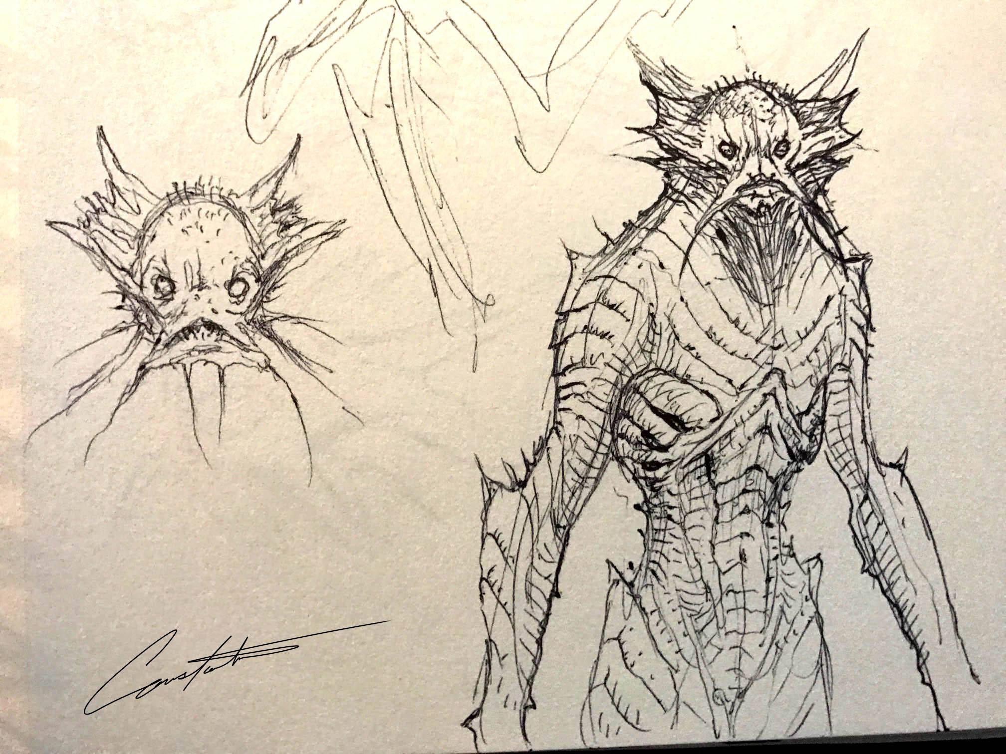 aquatic man sketch