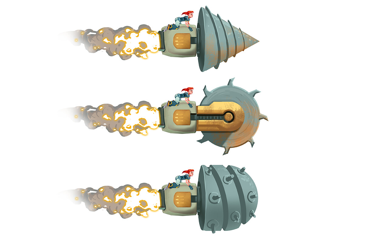Hero Robot - Drill Attachments A, B, C - Projectile