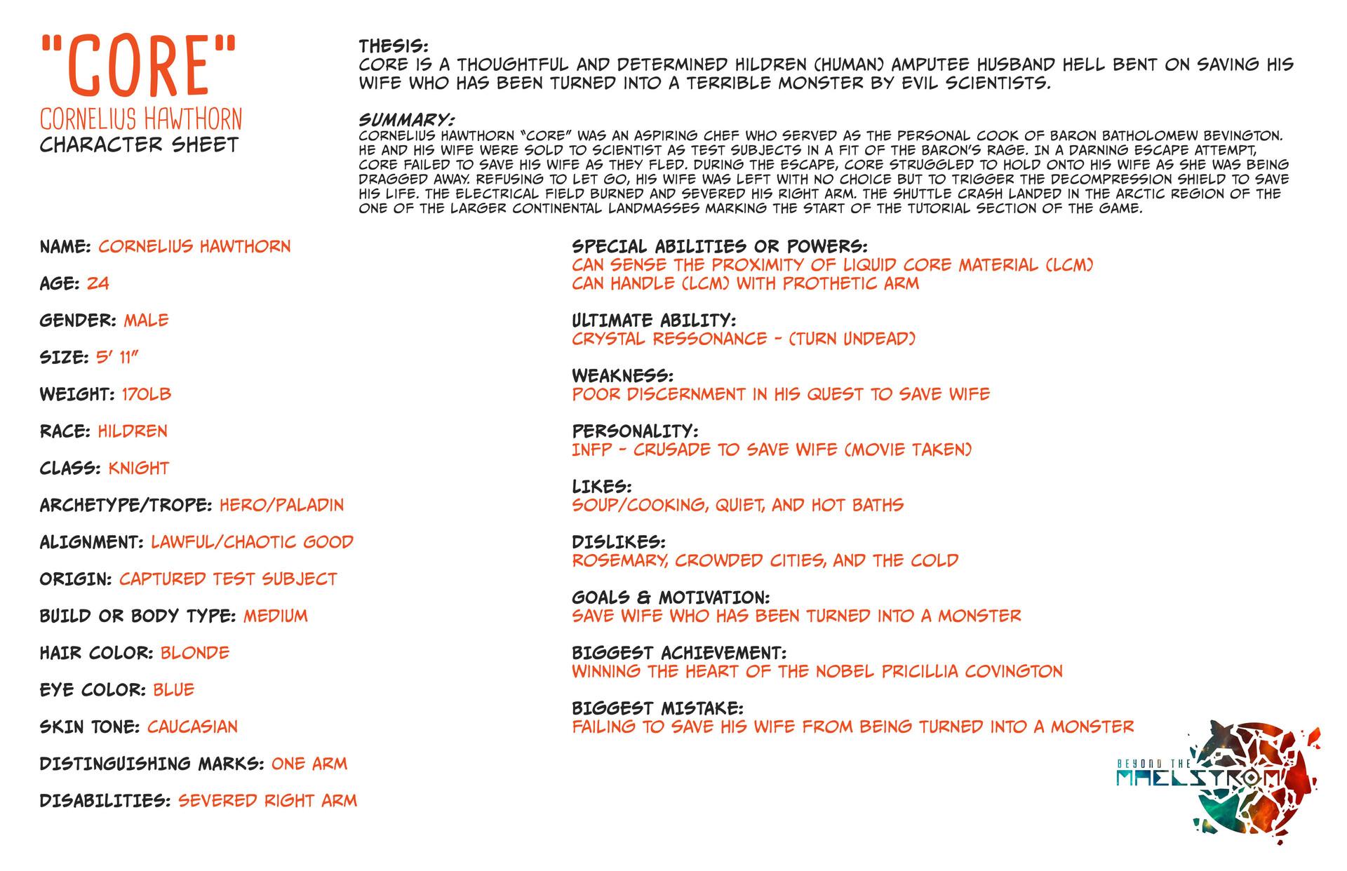 Joshua wilson thesis character sheet core