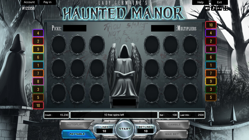 Lady Germaine's Haunted Manor - Bonus Game Mock-Up