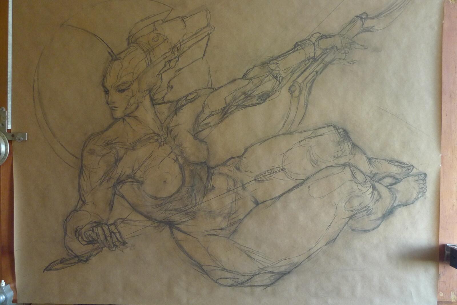 base charcoal drawing