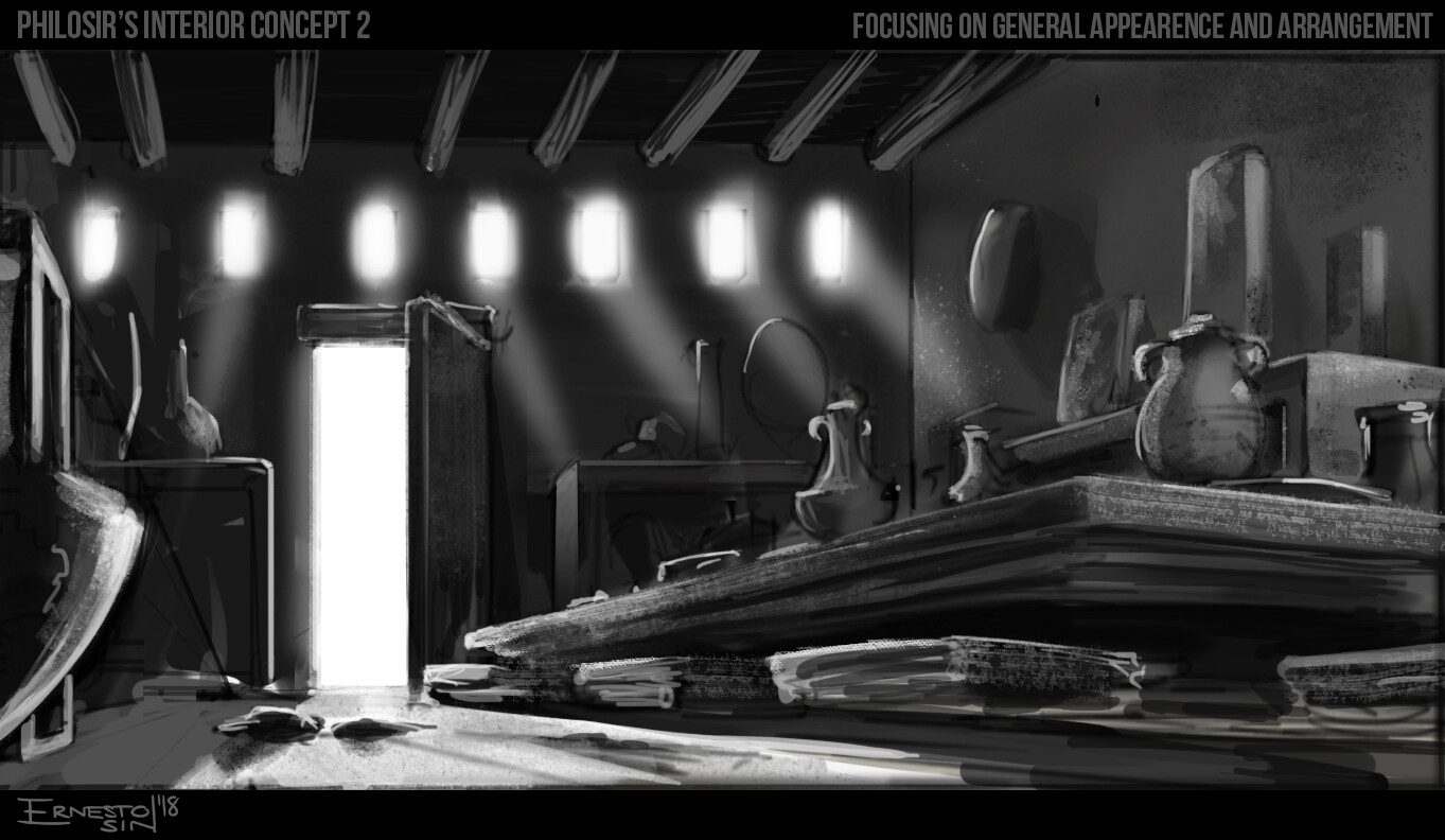 First concept. Keeping it quick and B&W to focus on arrangement and general layout.