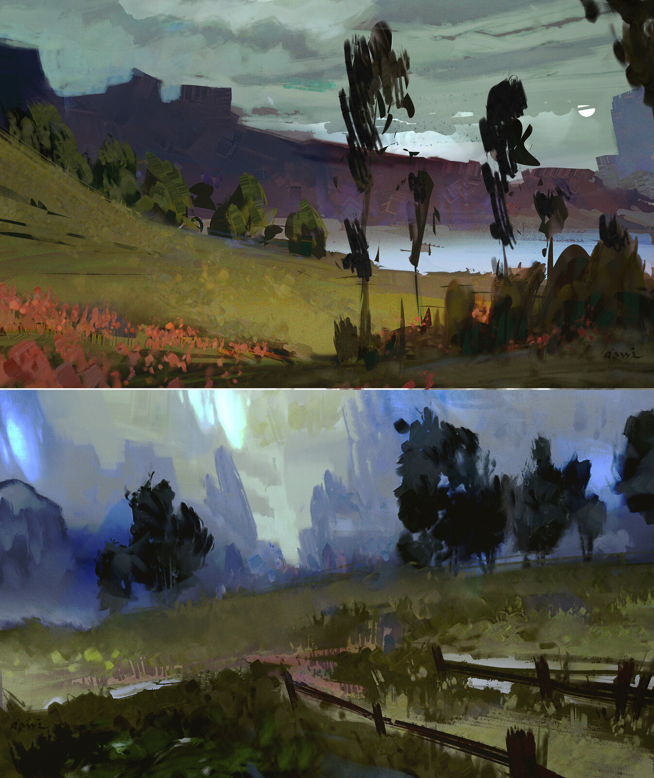 Landscapes style studies / 2 Palette sets