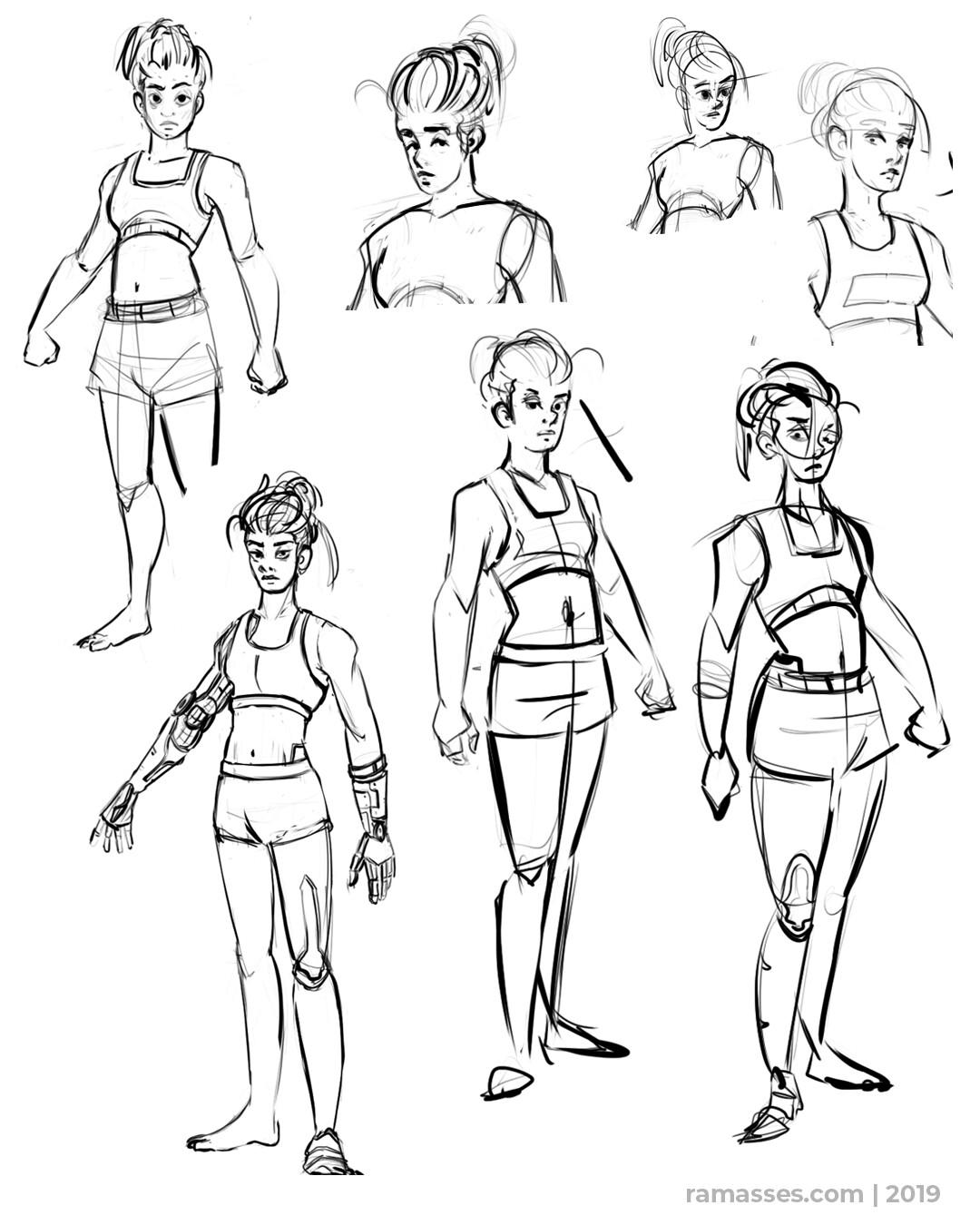 Ramasses romero cyborgfighter sketch02