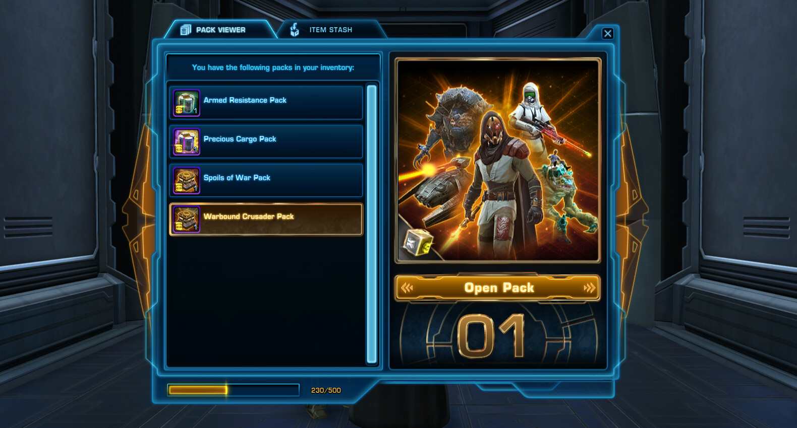 The pack viewer tab, where the player can open their Cartel Packs.