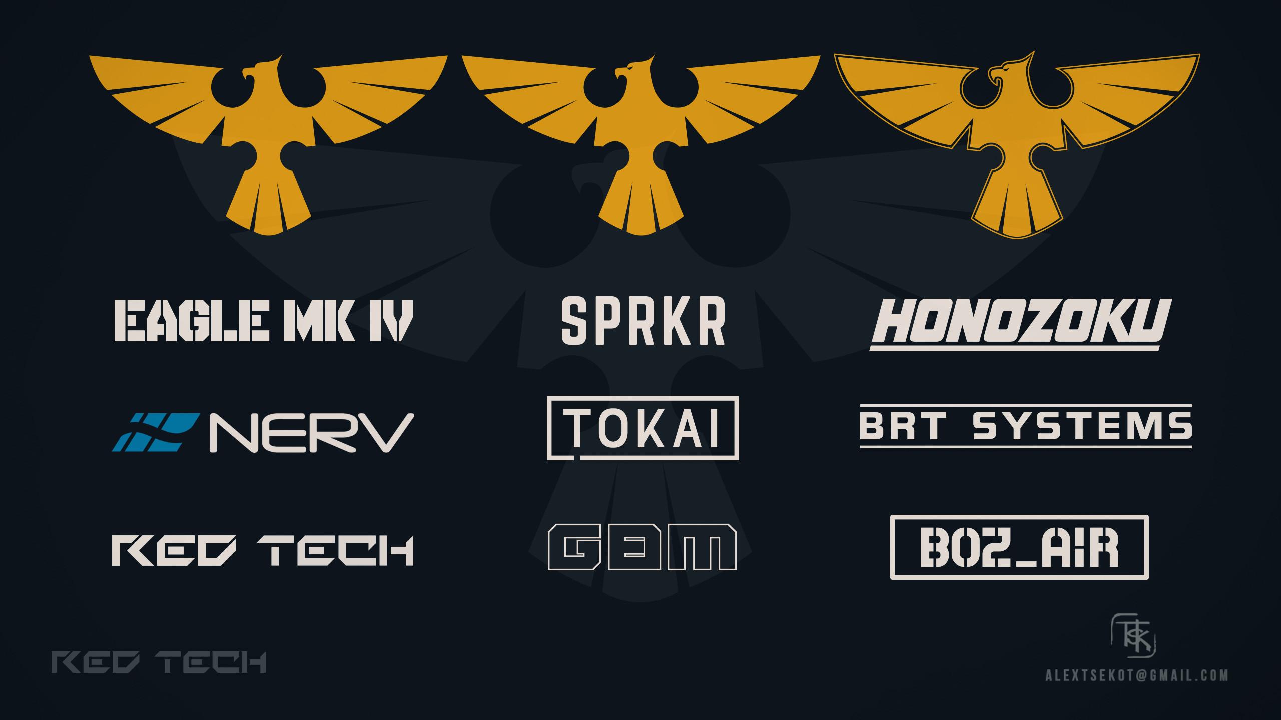 Various fictional OEM and aftermarket manufacturer logos