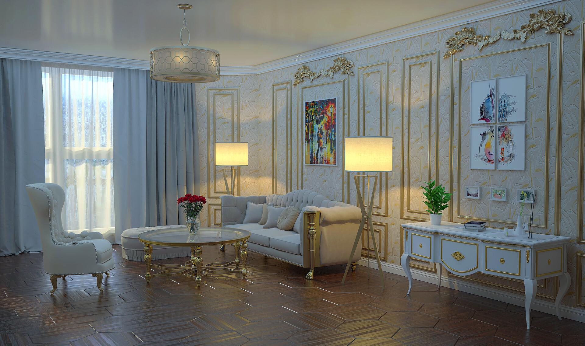 ArtStation - 3D Render - Victorian Living Room, David Lazishvili