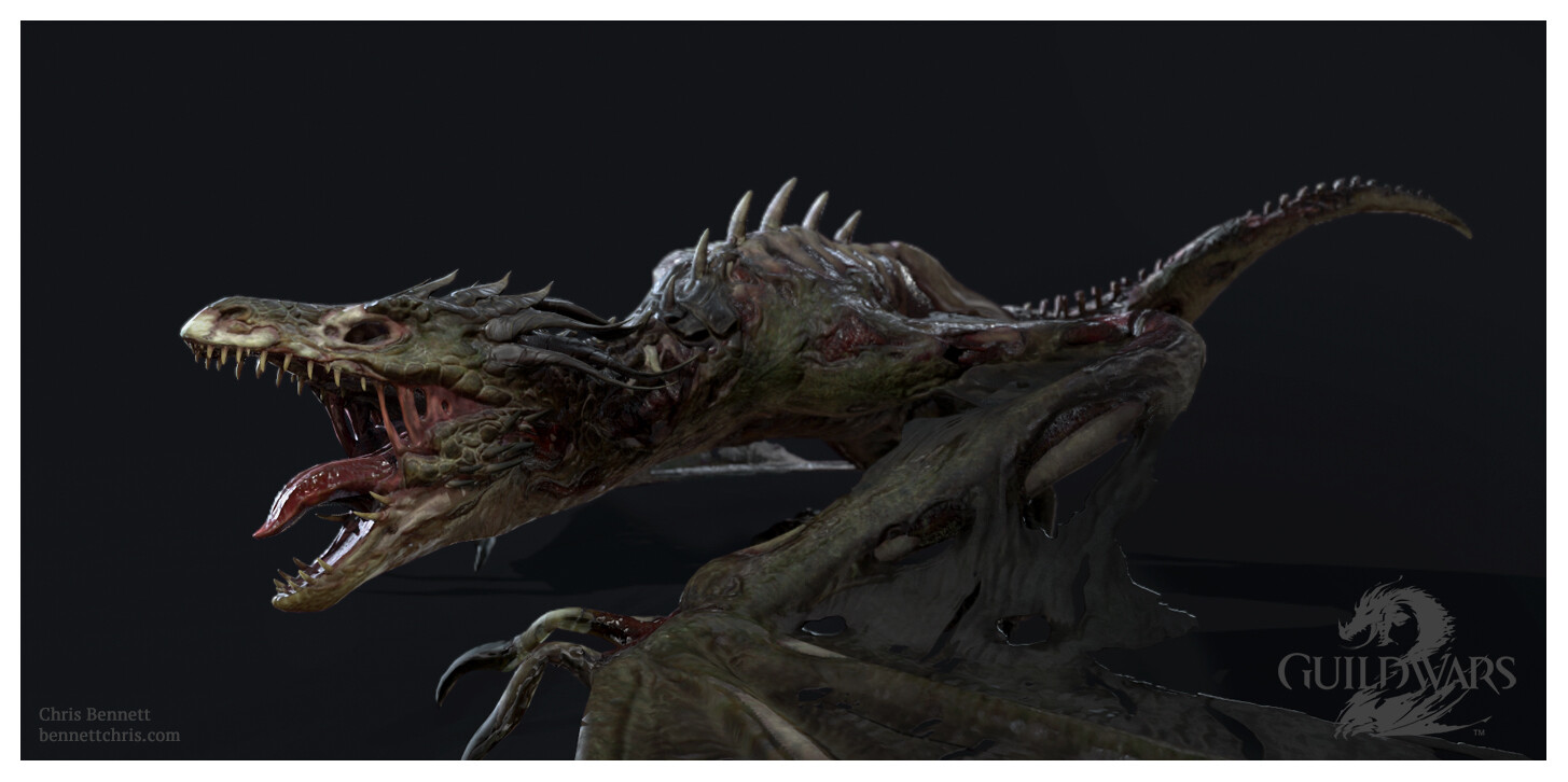 Undead Wyvern Game Mesh. Pose by ArenaNet Animation dept.