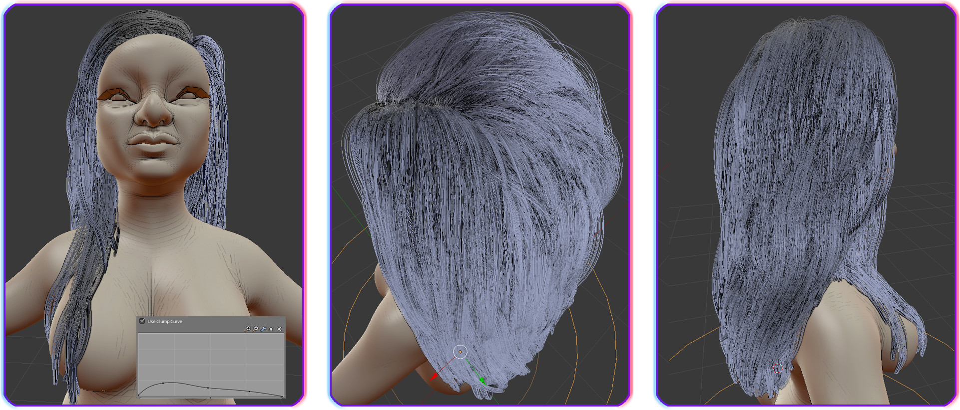 Hair design with blender hair.