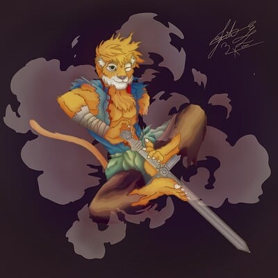 Artstation Senpai Khan artoc my dumb orc barbarian & his 'kitty' tabaxi monk. artstation senpai khan