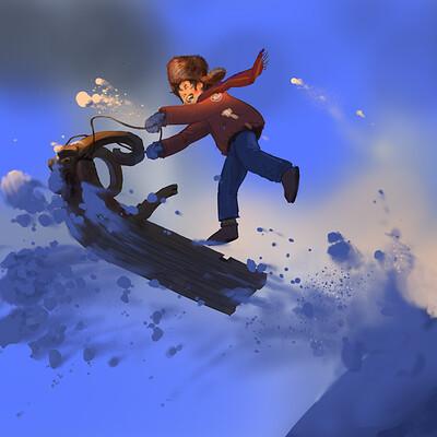 Viktor jonsson 3d for 2d art snowsledge painting 04