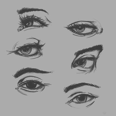 Theme: Realistic sketches of face parts