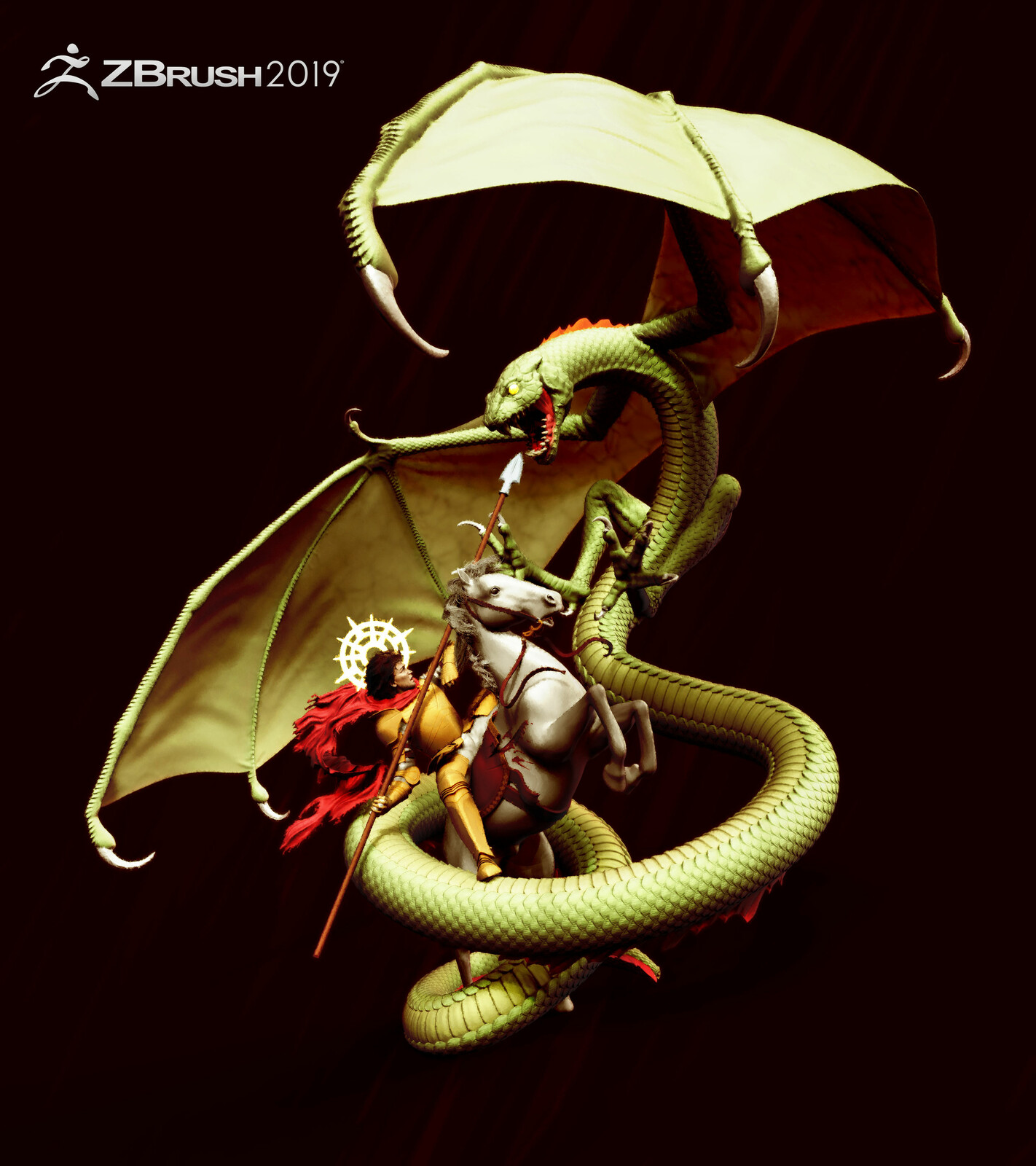 zbrush beta 2019. The last blow. Saint George and the dragon