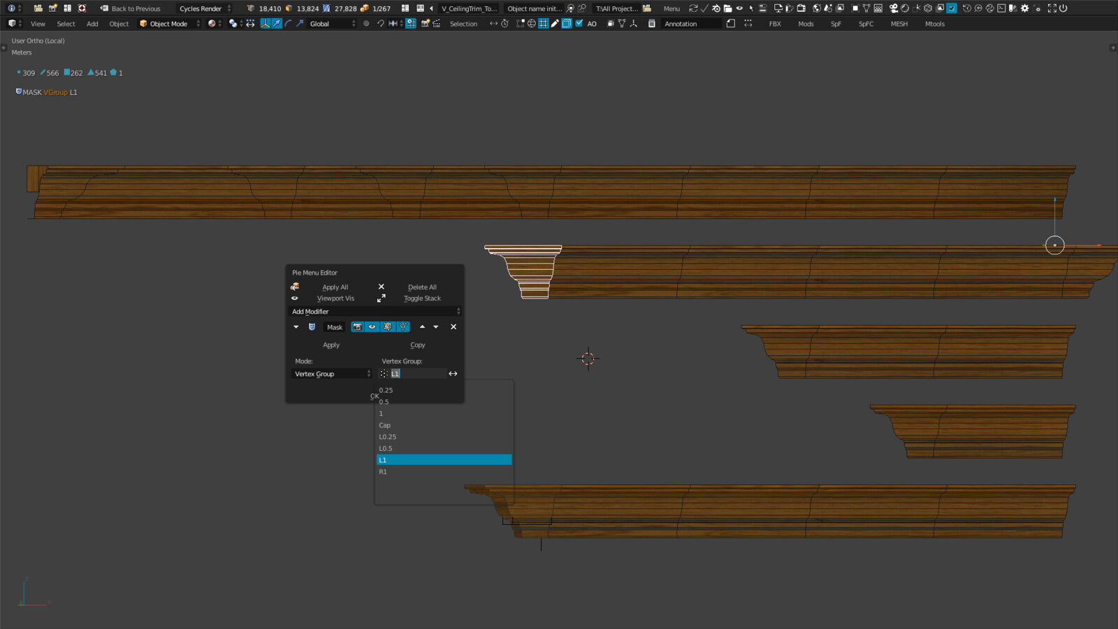 Making different pieces from one using vertex groups & Mask modifier - The pieces update automatically when I make adjustments to the main piece - In this example is a molding trim & corner piece