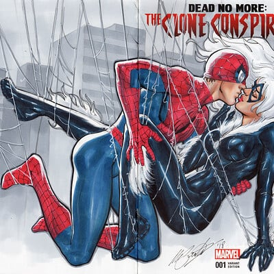 Marco santucci blank cover spider man black cat first kiss
