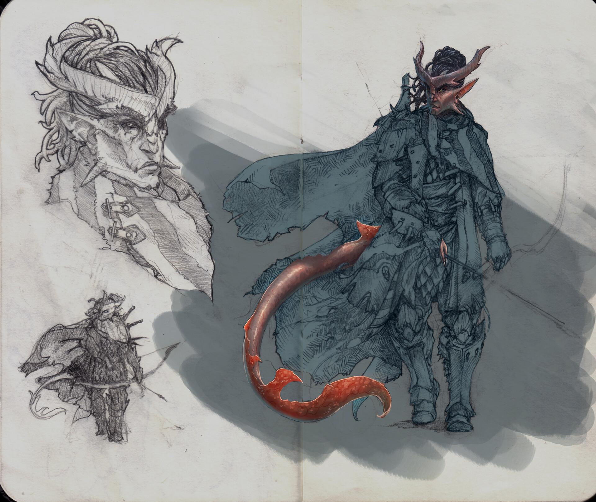 Initial pencil sketch + Base coloring