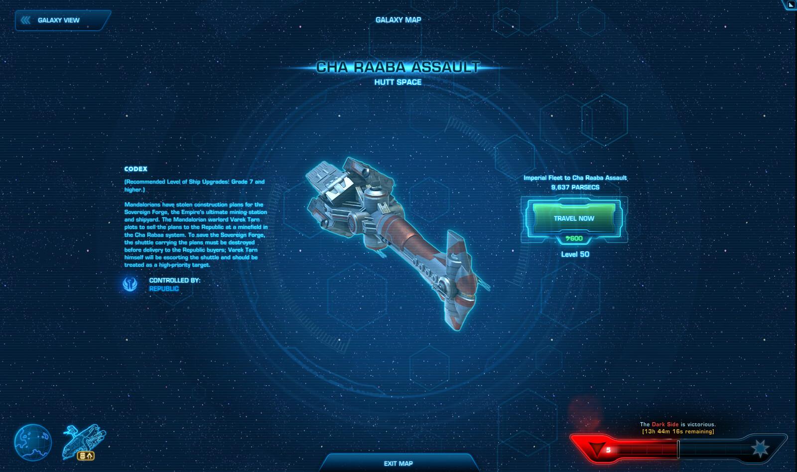 Destination view - space battle