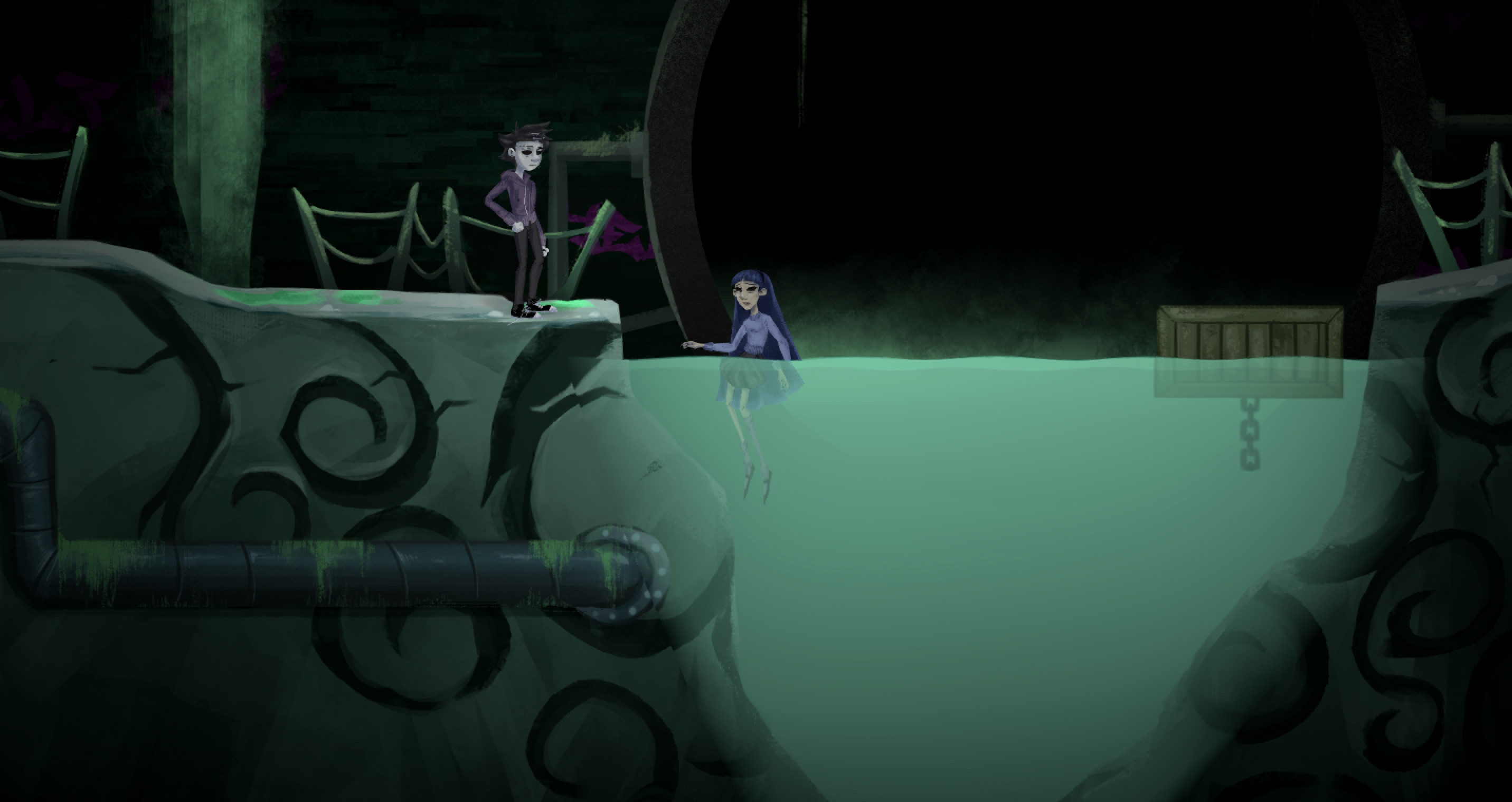In-game Screenshot #2 – Sewer area where Deadboy first encounters Drowned Girl.