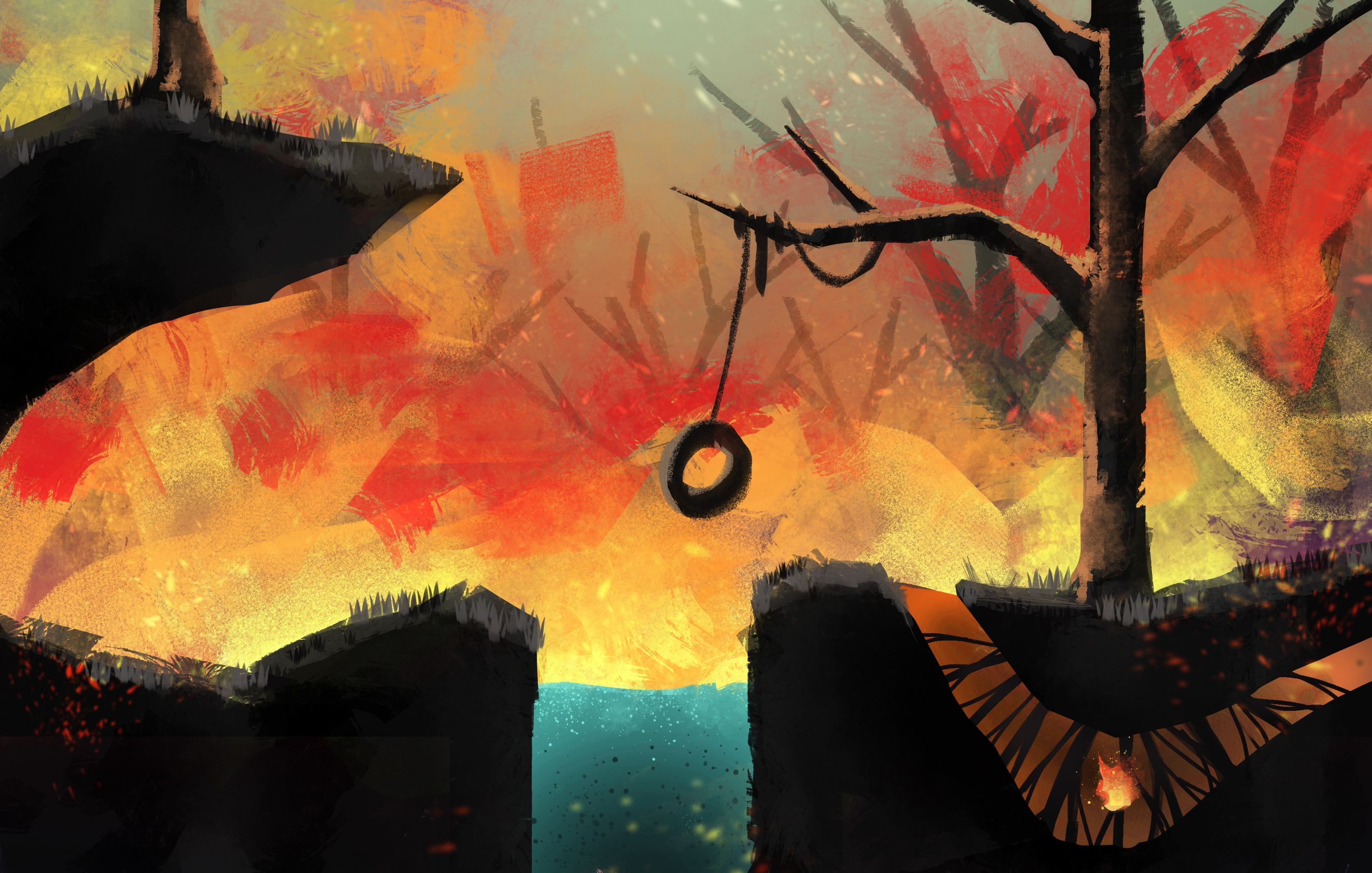 Concept art created for fiery forest area level.